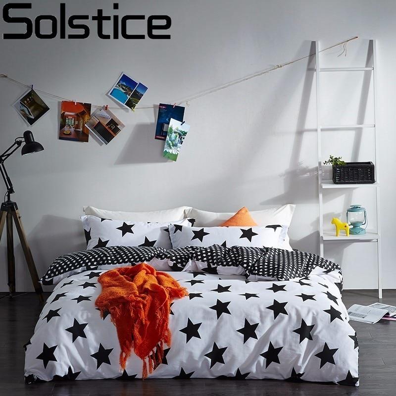 Solstice Home Textile Black White Star Stripe Grid 100 Cotton 4 Pcs Bedding Set Duvet Cover