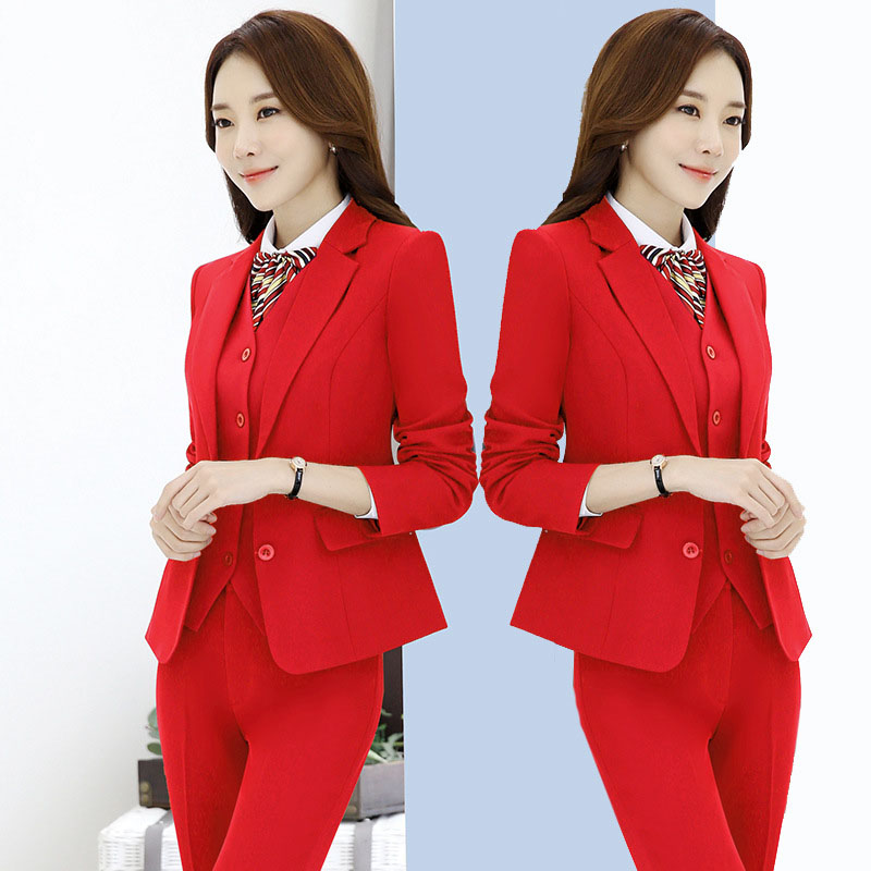 IZICFLY New Red Formal Trouser Set Uniform Designs For Women Suits With Pant Office Blazers Elegant Business Work Wear Plus Size