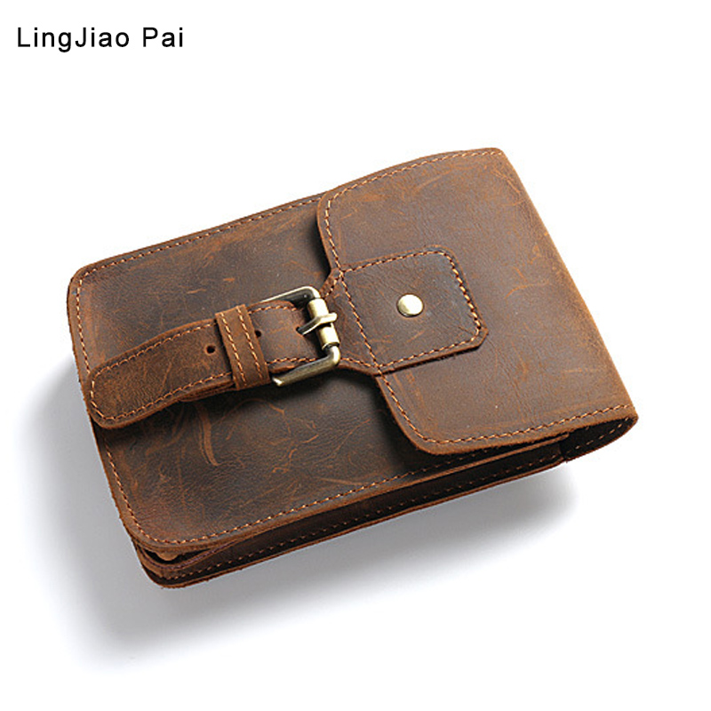 Vintage Genuine Leather Waist Packs Fanny Pack Belt Bag Phone Pouch Bags Travel Waist Pack Male Small Waist Bag Leather Pouch