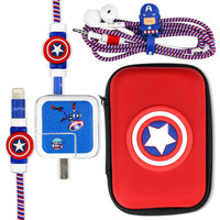 Cute Cartoon USB Cable Earphone Protector Set With Earphone Box Cable Winder Stickers Spiral Cord Protector