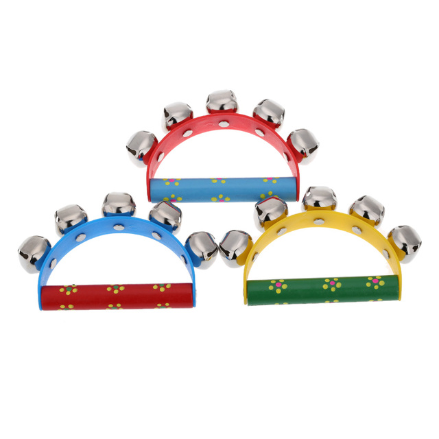 Little Hand Held Tambourine Bell Metal Jingles Ball Percussion Musical Instruments Toy Kid Children Gift Wholesale Retail