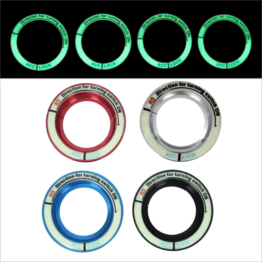 Aluminium Allloy Car luminous Ignition Switch Decoration Stickers Key Hole Protection Circle Ring For Ford Focus 2013 ST Mondeo circle