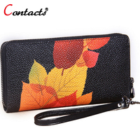 CONTACT S Women Wallet Genuine Leather Wallet Female Bag Printing Leaves Clutch Female Purse Card Holder