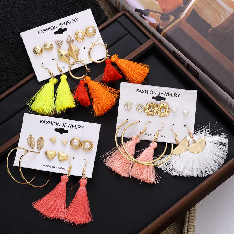 ZOSHI New Charm Crystals Simulated Pearl Stud Earrings Set For Women Girls Heart Pearls Colorful Long Tassel Earrings Set