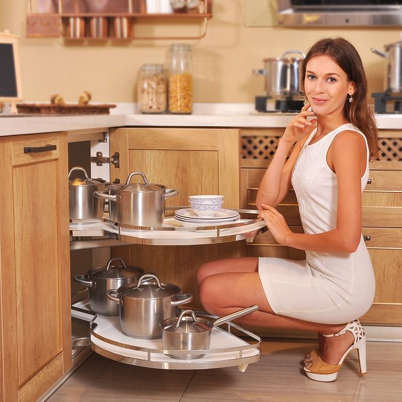 US $264.6 10% OFF|Kitchen cabinet corner baskets Multi function storage  rack corner racks small monster pull basket turntable saucer-in Kitchen ...