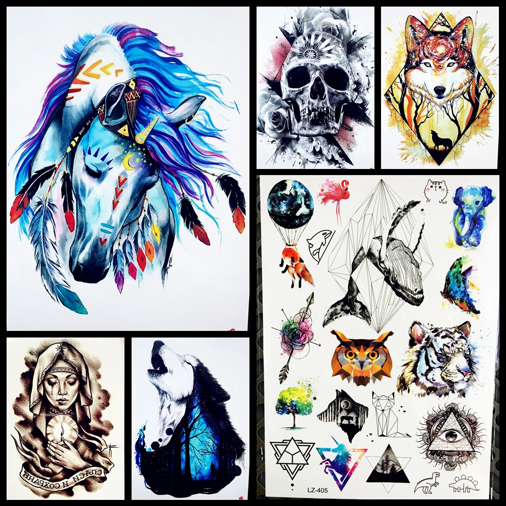 1 Piece Temporary Tattoo Sticker Water Transfer Wing: Blue Horse With Butterfly Temporary Tattoo Watercolor Fake