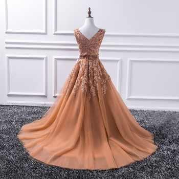Sexy V Neck Lace Long Prom Dresses 2020 New Tulle Beaded Appliques Princess Ball Gown Vintage Evening Dress Vestido De Festa