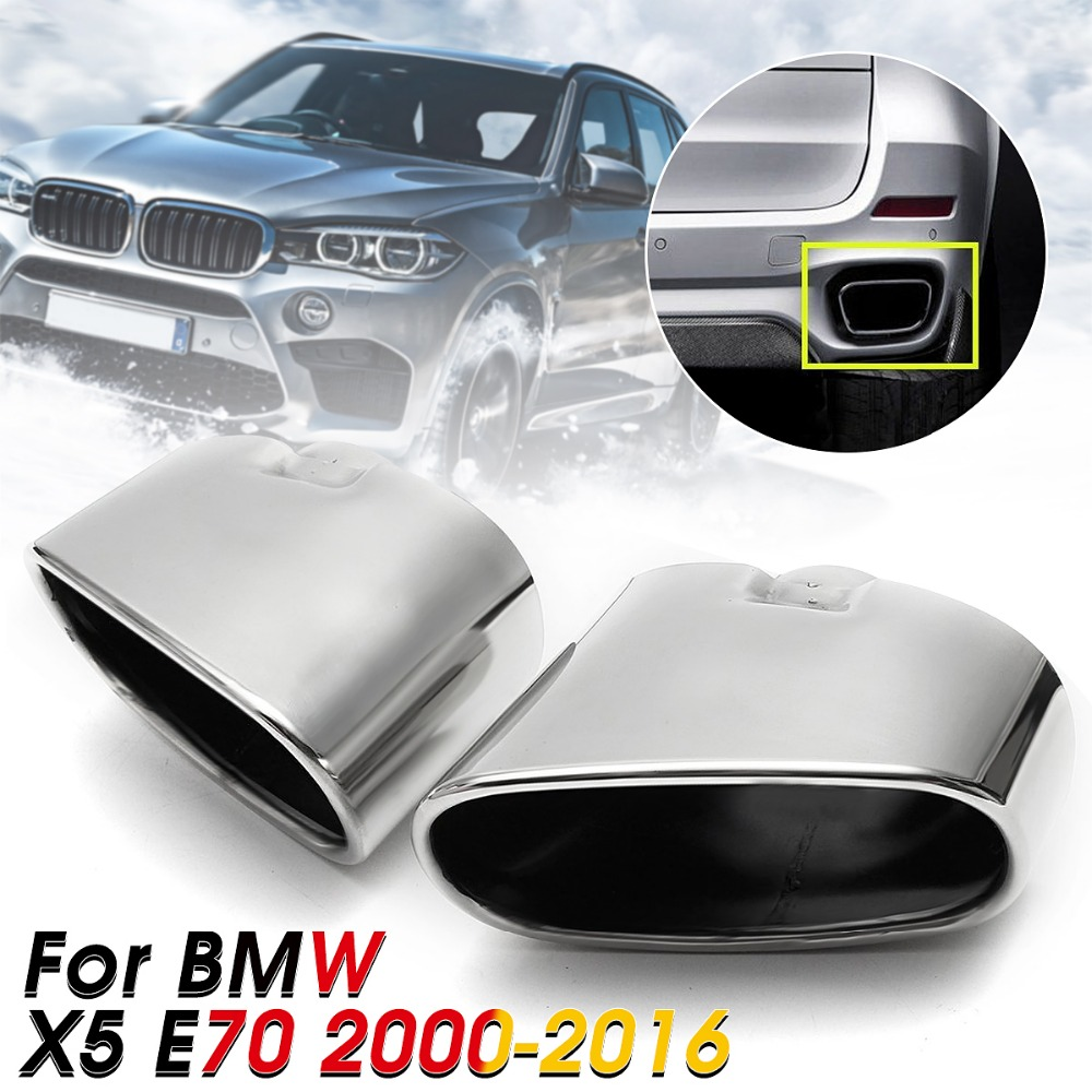 Pair Chrome Exhaust Dual Tail Pipe Muffler Tip Stainless Steel For BMW X5 E70 2000-2016 цена