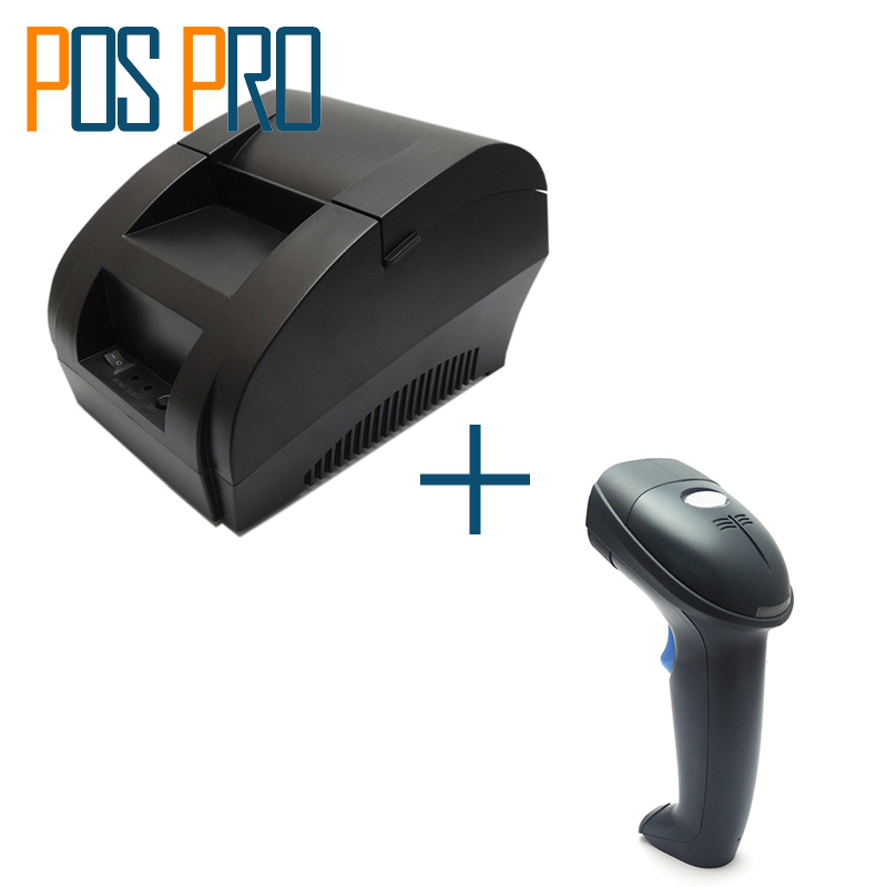 I58TP04+IPBS052 Free Shipping 58mm Thermal Receipt Printer USB Port,1D Barcode Scanner,For Restaurant,Shopping market,Warehouse