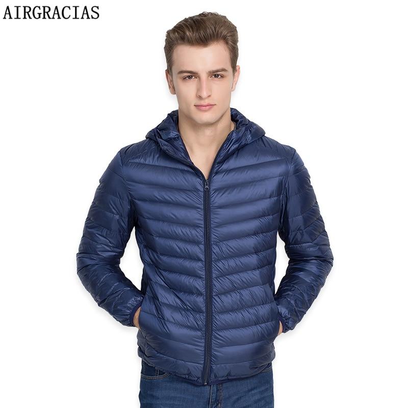 Airgracias бренд белая утка Подпушка куртка Для мужчин осень-зима теплое пальто Для Мужчин's Сверхлегкий утка Подпушка куртка мужской ветрозащитный парка lm005