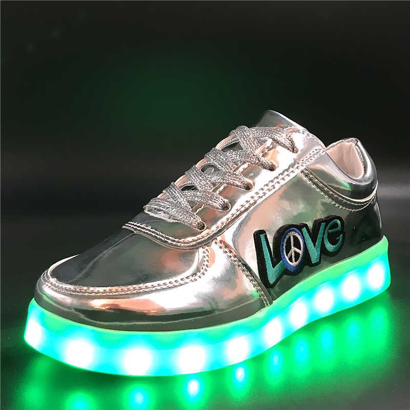 7ipupas 30-44 ใหม่ส่องสว่างรองเท้าเย็บปักถักร้อยสติกเกอร์ USB ชาร์จเด็กผู้ชาย & เด็กหญิง led รองเท้า Dazzle สีเรืองแสงรองเท้าผ้าใบ