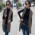 1pc Faux Lamb Fur Hoodie Long Vest Sleeveless Jacket Waistcoat Women Outerwear Coat ZL001