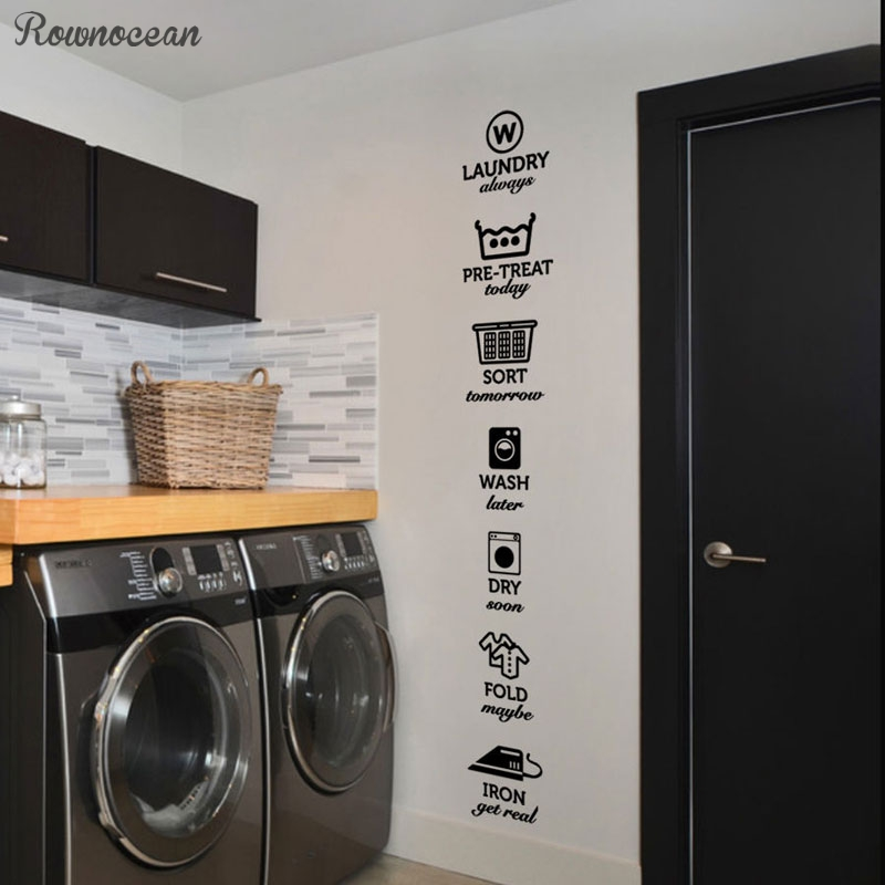 The rules of laundry decals, laundry tag stickers pattern,Wash Dry Fold Iron Laundry Room Vinyl Wall Quote Sticker Decal LY07