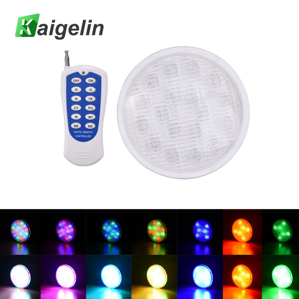 35W PAR56 Underwater Light RGB LED Swimming Pool IP68 12V LED Lamp Remote Control Multi Color Waterproof LED For Pond Fountain underwater lights rgb led swimming pool light 24v ip68 waterproof 27w 316 stainless steel colorful changeable fountain lamp