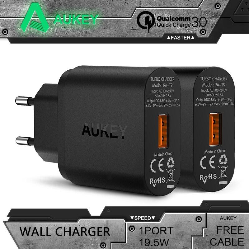 imágenes para AUKEY Carga Rápida 3.0 USB Cargador Rápido de LA UE/EE.UU. cargador de Pared de Viaje cargador Para el iphone Samsung galaxy s8 Xiaomi mi5 6 redmi 4x
