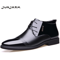 JUNJARM 2017 Yeni Tasarımcı Erkekler Çizme Mikrofiber Erkekler Kış Ayakkabı Içinde Yün Sıcak Kar Ayakkabı Siyah Adam Deri Ayak Bileği Çizmeler
