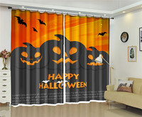 European Blackout Curtains Halloween series Pumpkin lantern 3D Window Curtain For The Living room Bedroom Photo Drapes