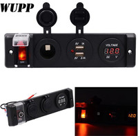 WUPP 12V Circuit Breaker Switch Panel Dual 5V 1A 2.1A USB Outlet Charger Port Cigarette Lighter Volmeter Red Indicator Switch