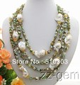 4 Strands  Bead-Nucleated Pearl&Agate Necklace