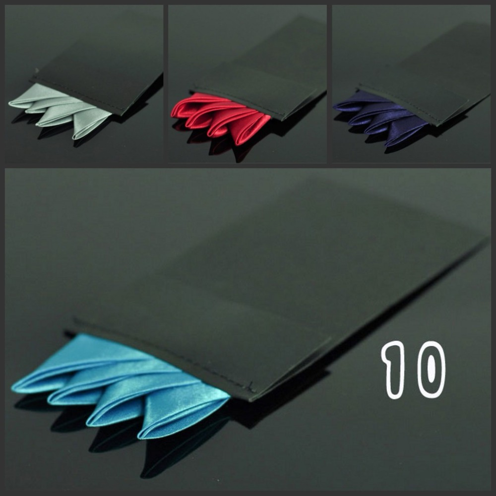 Fashion Solid Silk Satin Handkerchief Candy Color Suits Pocket Square For Men Business Chest Napkin Hankies