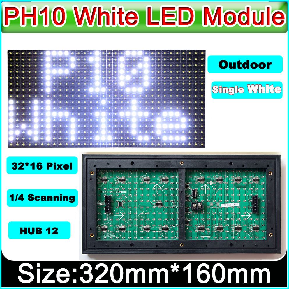 LED scrolling <font><b>billboard</b></font> module P10 Outdoor Waterproof White color LED sign advertising display module Unit 320mm*160mm image