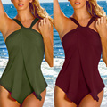 Neck Elastic Sexy Women Swimwear One Piece Swimsuit Monokini Padded Bikini Tankini Burgundy Army Green Beach Wear Bathing Suit