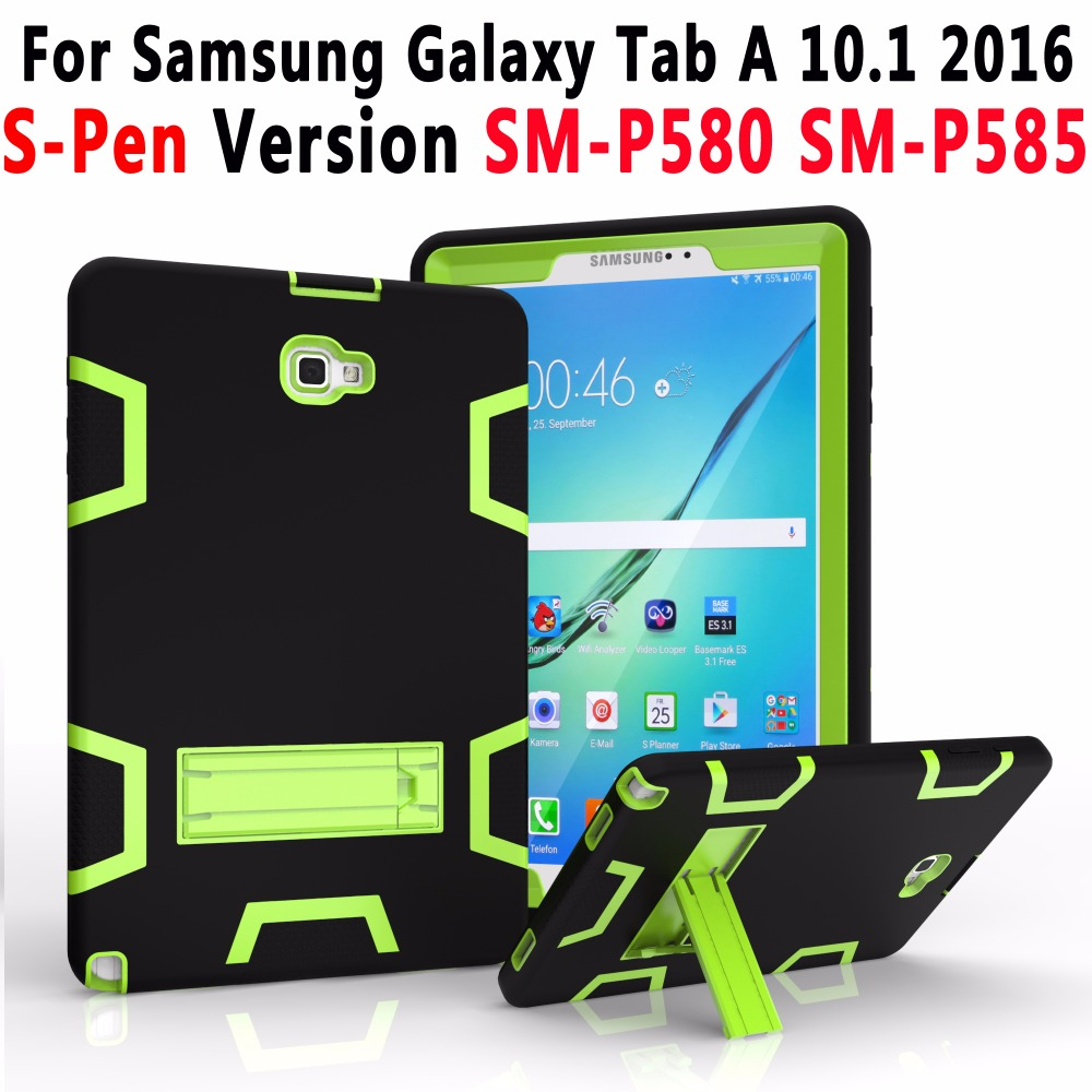 100% Top Quality Armor Silicon Tablet Cover for Samsung Galaxy Tab A 10.1 inch 2016 S-Pen Version P580 P585 SM-P580 SM-P585 Case top quality 100