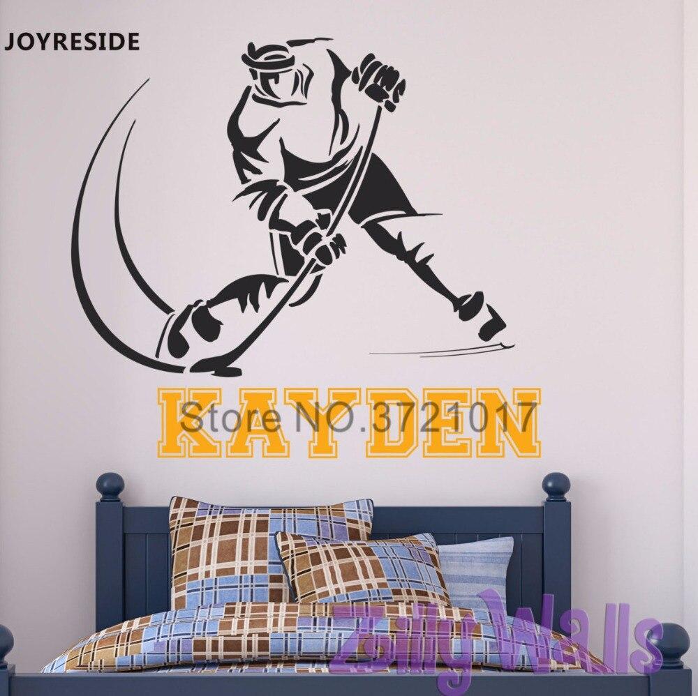 Hockey Wall Decal Large Decal Custom Name Decal Boys: JOYRESIDE Personalized Custom Name Hockey Sport Player