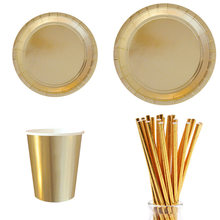 Gold Silver Foil Solid Party Supplies Disposable Paper Plate Cups Straws Cup Cake Wrappers Cupcake Stand Dessert Cardboard(China)