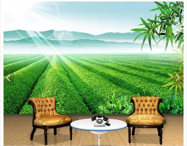 3D Photo Wallpaper Custom 3d Wall Mural Wallpaper Landscape Painting Of  Bamboo Leaves In Tea Garden