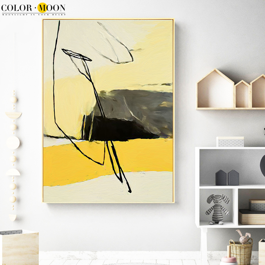 COLOR MOON Doodle Abstract Painting Wall Art Canvas Painting Posters ...