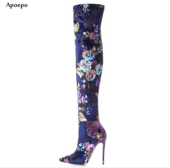 Apoepo 2018 Sexy Pointed Toe High Heel Boots Flower Printed Thigh High Boots for Woman Stretch Fabric Over the Knee Boots