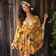 Simplee с цветочным принтом с рукавами «летучая мышь» летнее платье женские пикантные V шеи Высокая талия пляжное платье с бантом 2017 Короткие платья уличная