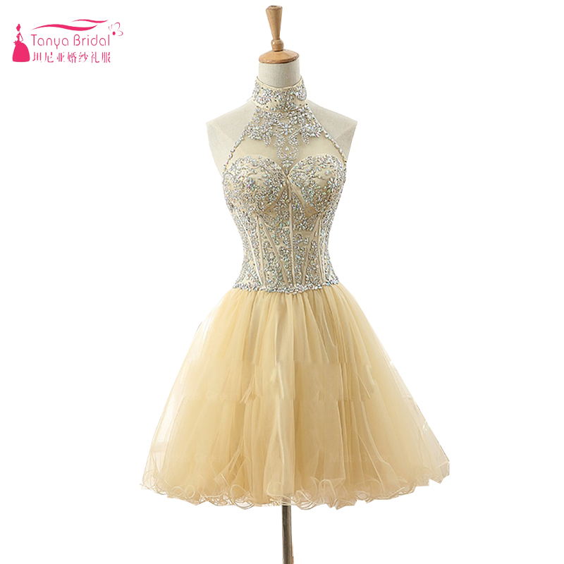 Light Yellow Halter Bling Bling Gorgeous Homecoming Dresses Amazing Beads important Party Dresses Real Photos   Z1066