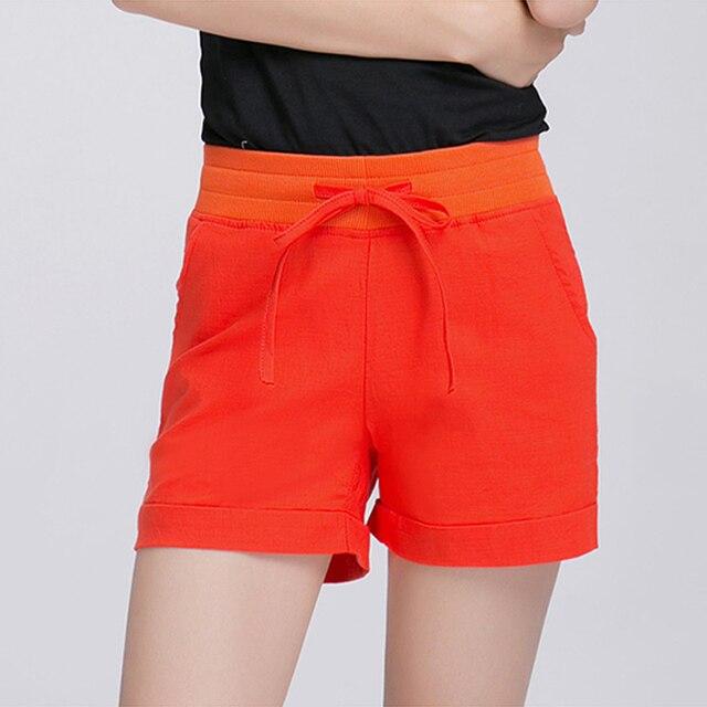 Девушка стиль плюс размер новая мода сплошной цвет белье шорты женщин случайные прямые лето pantalones cortos mujer шорты размер 4XL