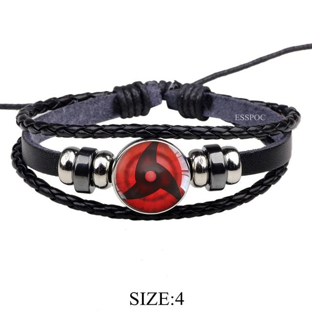 Sharingan Eye Black Leather Bracelet Uchiha Uzumaki Clan Logo