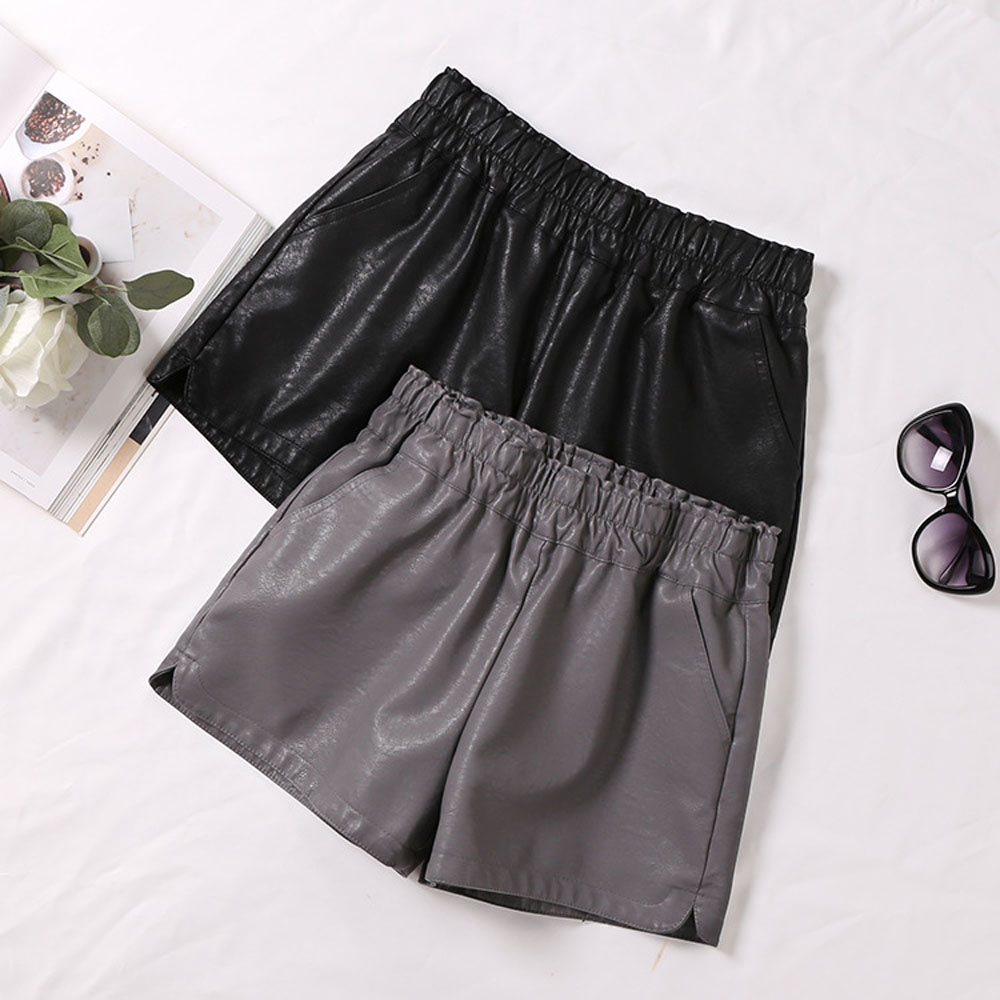 2018 New PU Leather   Shorts   Women's Black Gray   Short   Pants With Pockets Elastic Mid Waist with Layer Faux Leather Loose   Short