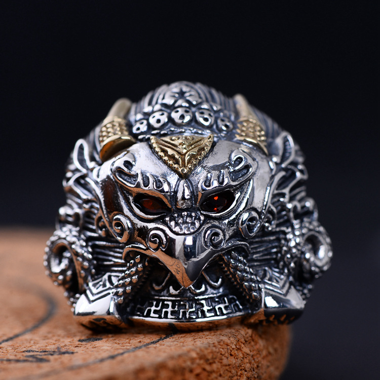 S925 pure Silver Vintage Ring Men's Personality Gold Wings Patron Saint Silver Ring silver wings silver wings 010022v1 5 186