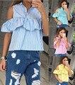 2017 новые моды для женщин lady повседневная лето плюс размер полосатый винтаж с плеча с коротким рукавом оборками рубашки blusas, топы, блузки