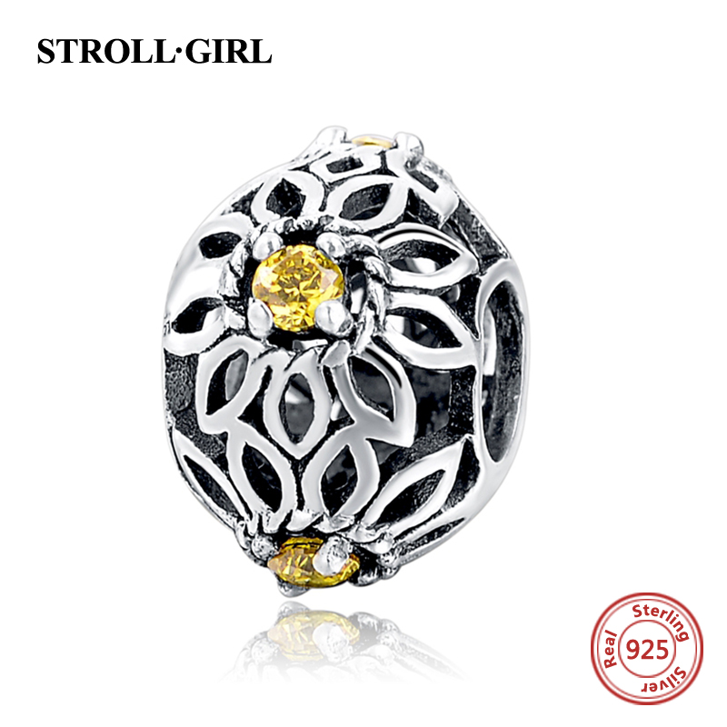 925 Sterling Silver Charms Flower Fancy Yellow CZ Fit pandora Charms Silver 925 Original Bracelet Authentic Pendant Luxury Gift