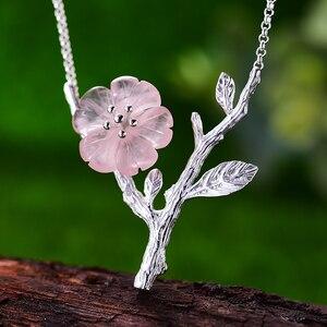 Image 2 - Collar con colgante de flor bajo la lluvia para mujer, joyería fina de diseño hecho a mano, Lotus Fun, Plata de Ley 925 auténtica