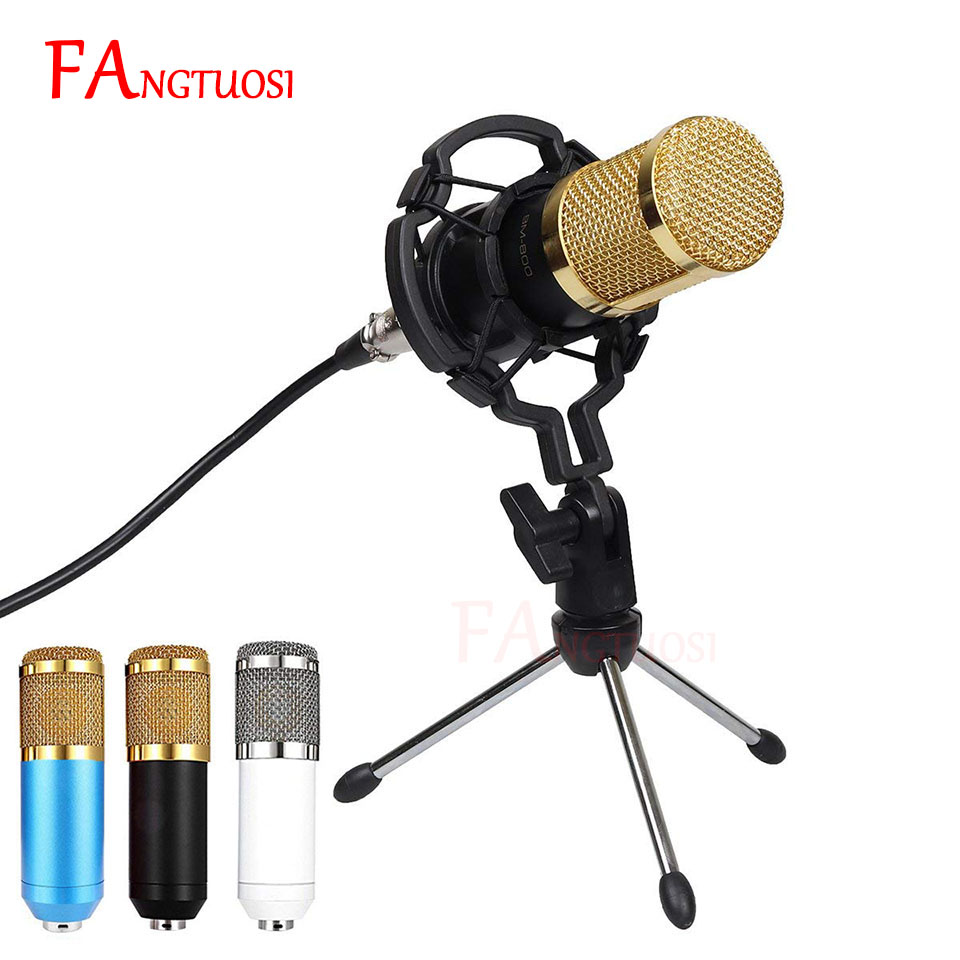 BM 800 Microphone Condenser Sound Recording Microphone With Shock Mount For Radio Braodcasting Singing Recording KTV Karaoke Mic(China)