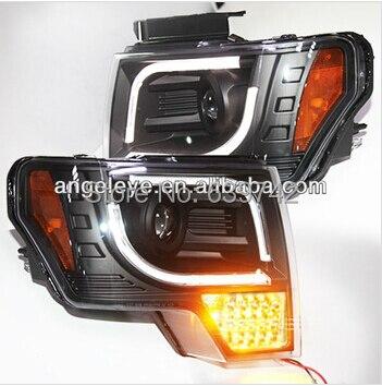 Для 2013-2014 год для Форд Raptor F150 Светодиодные ленты головного света с full LED указатель поворота черный Цвет