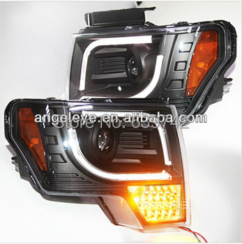 for  2013-2014 Year for FORD Raptor F150 LED Strip Head Light with Full LED turn signal light Black Color