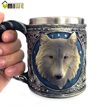 450ML Animal Cartoon Wolf King Drinking Mug 3D Wolf Pattern Retro Resin Stainless Steel Lining Coffee Tea Wine Mugs Gift