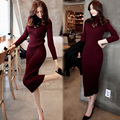 2017 Spring Autumn Winter New Arrival Women Knitted Pencil Dress Fashion Half Turtleneck Slim Sweater Long Dress Thicken S-XL