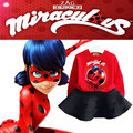 2017 nueva primavera ropa de bebé niñas de dibujos animados traje milagrosa mariquita reddy hero t-shirt + faldas de algodón traje de ropa de niños