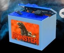 Free shipping 1pcs/lot 2016 New Godzilla Movie Musical Monster Moving Electronic Coin Money Piggy Bank Box