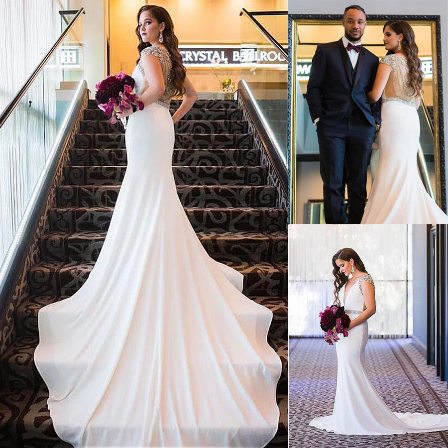 Winsome V-neck Neckline Mermaid Wedding Dresses With Beadings Cap Sleeves Illusion Back Crystals Bridal Dress