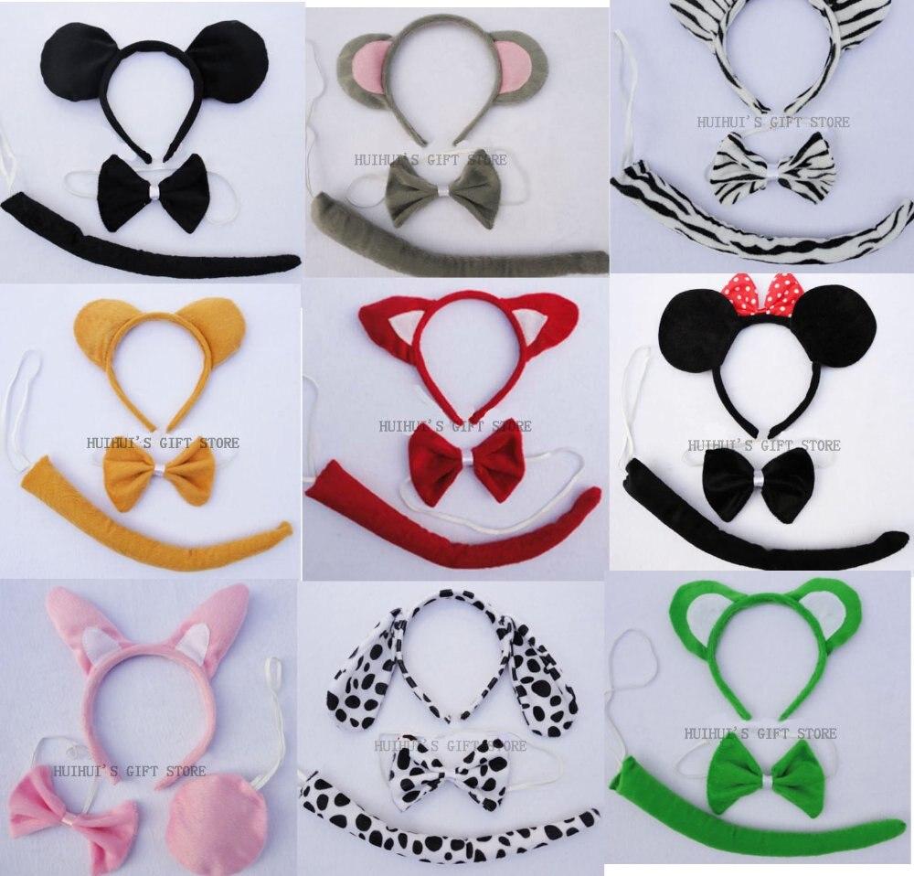 Косплей, тигр, лягушка, Минни, лиса, корова, собака, заячьи ушки набор животных уха повязка на голову, галстук-бабочка, хвост/Рождество лентой